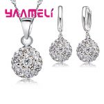 YAAMELI Shiny Latest <b>Jewelry</b> Set 925 Sterling Silver Austrian Crystal Pave Disco Ball Lever Back Earring Pendant Necklace Women