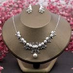Round Cubic Zirconia Necklace Earrings <b>Jewelry</b> Sets Simulated Pearl Wedding Party Choker Earring Bijoux for Women <b>Handmade</b> Gifts