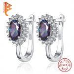 2.8ct Huge Genuine Mystic Fire Rainbow Purple Crystal Hoop Earrings Solid 925 Sterling Silver <b>Jewelry</b> Brand New Stone Charm Gift