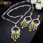 Pera Luxurious Big Yellow Stone Bohemian Women Wedding Party <b>Jewelry</b> Long Dangle Cubic Zirconia <b>Necklace</b> And Earrings Sets J214