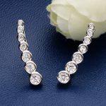 Bella Fashion 925 Sterling Silver Bridal Earrings Round Cubic Zircon Simple Clear Ear Cuff Wrap Sweep <b>Wedding</b> Party <b>Jewelry</b>