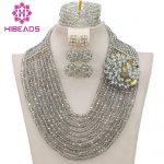 Handmade <b>Silver</b> Crystal Women Necklaces Costume Jewellery Nigerian Wedding African Beads Jewelry Set Free Shipping WB903