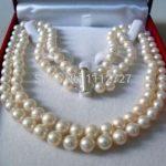 lady's women's silver <b>jewelry</b> 2 Rows 8-9MM WHITE AKOYA SALTWATER PEARL NECKLACE 17-18″ beads <b>jewelry</b> <b>making</b> Natural Stone