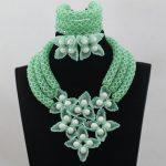 2017 Latest Mint Green Women Statement Necklace <b>Earrings</b> Set Wedding Costume African Fashion Jewelry Set Free Shipping WD369