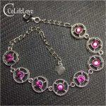 Solid 925 sterling <b>silver</b> gemstone <b>bracelet</b> for party 3 mm round pyrope garnet <b>bracelet</b> romantic birthday for wife fine jewelry