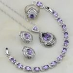 Buddha Shaped Purple Cubic Zirconia White CZ 925 Sterling Silver <b>Jewelry</b> Sets For Women Bracelet/<b>Necklace</b>/Pendant/Earrings/Ring