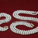 Women's Wedding charm fashion AAA 3 row set 7-8mm white freshwater pearl necklace bracelet real silver-<b>jewelry</b>