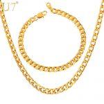 U7 Men Chain <b>Jewelry</b> Set Wholesale Black Gun /Gold Color Cuban Link Chain Necklace Bracelet <b>Jewelry</b> Set S625