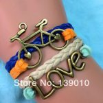 New Designer Colorful Leather Suede Bicycle LOVE Cuff Charm Bracelet Bangles Trendy Women Men <b>Native</b> <b>American</b> Wish Brand <b>Jewelry</b>