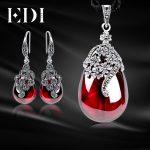 EDI Women Vintage Garnet 925 Sterling <b>Silver</b> Drop <b>Earrings</b> Gemstone Pendant Necklace For Women Wedding Decoration Jewelry Sets