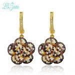 l&zuan Drop Earrings For Women S925 <b>Sterling</b> <b>Silver</b> Fine <b>Jewelry</b> Flower Baroque Style Multicolor Cubic Zirconia Pendients Mujer