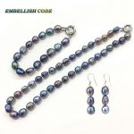 selling well <b>necklace</b> earring bracelet set small baroque pearls simple natural freshwater pearl Peacock blue Colourful women