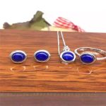 Color 2 color natural lapis lazuli <b>Earrings</b> Necklace Pendant ring set of 925 <b>silver</b> suit