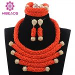 2017 Latest Deep Coral African Beads <b>Jewelry</b> Set Wedding Nigerian Bridal Costume <b>Jewelry</b> Set New Free Shipping WD846