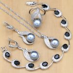 <b>Silver</b> 925 Bridal Jewelry Sets Pearls Beads For Women Wedding Drop Earrings Necklace Ring Natural Black Zircon <b>Bracelet</b>