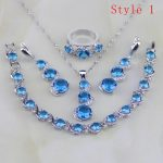 925 Sterling <b>Silver</b> Jewelry 6 <b>Bracelets</b> Round Blue Zircon White CZ Jewelry Sets For Women Earring/Pendant/Necklace/<b>Bracelet</b>/Ring