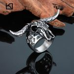 Kalen Rock Male Goat Rings Size 8-12 Stainless Steel Sheep Head <b>Antique</b> Men's Finger Rings Biker Dropshipping Cool <b>Jewelry</b> Rings