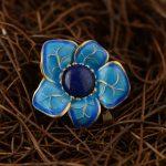 FNJ 925 Silver Flower Pendant New Fashion Lapis Lazuli Stone Pure S925 Solid Thai Silver Pendants for Women Men <b>Jewelry</b> <b>Making</b>