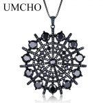 UMCHO Hyperbole Gemstone Black Spinel Necklace Pendants Solid 925 <b>Sterling</b> <b>Silver</b> Female <b>Jewelry</b> For Women Gift Fine <b>Jewelry</b>