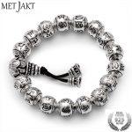 MetJakt Buddhism Mantra <b>Bracelet</b> Solid S925 Sterling <b>Silver</b> Buddha Beads <b>Bracelet</b> for Unisex Vintage Jewelry Stretching 19-23cm
