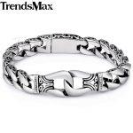 Trendsmax Men's Bracelet 316L Stainless Steel Wristband Biker <b>Jewelry</b> Vintage Totem Curved Edging Curb Cuban Link Chain HB10