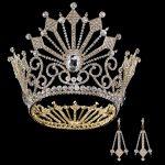 Wholesale Crystal Princess Tiara Earrings Bride Queen Crown Luxury European Large Crown Wedding Headdress Wedding Hair <b>Jewelry</b>