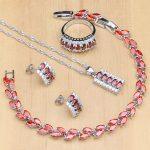 luxury <b>Silver</b> 925 Jewelry Sets Red Cubic Zirconia White Crystal Bijoux Kits For Women Earrings/Pendant/Necklace/Rings/<b>Bracelet</b>