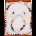 Amazing! pearl <b>jewelry</b> set A 7-8MM White pink black Multicolor Freshwater pearl <b>necklace</b> bracelet earring Free shipping