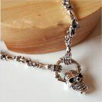 Thai <b>silver</b> <b>necklace</b> 925 Sterling <b>Silver</b> Genuine men long Punk Skull Pendant <b>Necklace</b> Set retro bone chain chain