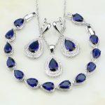Water Drop Blue Cubic Zirconia White CZ 925 Sterling Silver <b>Jewelry</b> Sets For Women Wedding Earrings/Pendant/Necklace/Bracelet