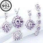 Charms Purple Zirconia <b>Silver</b> 925 Costume Jewelry Sets Wedding <b>Bracelets</b> Necklace Pendant Ring Earrings For Women Set Gift Box
