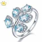 Hutang Stone <b>Jewelry</b> Natural Gemstone Sky Blue Topaz Solid 925 Sterling <b>Silver</b> Leaf Ring Fine Fashion <b>Jewelry</b> For Women Gift New