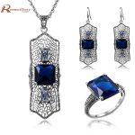 African Bijouterie 925 Sterling <b>Silver</b> Vintage Blue Rhinestone Dubai Indian Bridal <b>Earrings</b> Pendant Ring Female Jewelry Sets