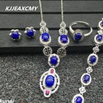 KJJEAXCMY Fine jewelry, 925 <b>silver</b> inlaid natural lapis lazuli women's set, simple and generous wholesale