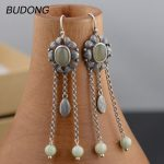 BUDONG Real 925 <b>Sterling</b> <b>Silver</b> Drop Dangle Earring for Women Vintage S925 <b>Silver</b> Long Tassel Hook Anniversary Gift Fine <b>Jewelry</b>