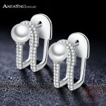 ANFASNI High Quality 925 Sterling Silver Paper Clip Shape Earrings for Women Luxury <b>Wedding</b> Earrings Fine <b>Jewelry</b> CGSER0140-B