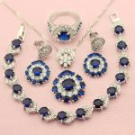 WPAITKYS New Top Blue Cubic Zirconia Sterling-<b>Silver</b>-Jewelry Sets For Women <b>Bracelet</b> Necklace Earrings Ring Free Gift Box