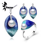 MINTHA Pearl Jewelry sets, 925 Sterling <b>Silver</b> stud <b>earrings</b>,2018 new bohemia freshwater Pearl leaf necklace for women love ring