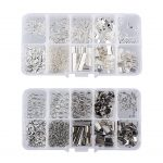 400Pcs 2 Colors Jump Rings / Ribbon Crimps / Lobster Clasps / Drop End Pieces / Extender Chain <b>Jewelry</b> <b>Making</b> Findings Kit Set