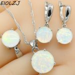 925 Sterling Silver <b>Jewelry</b> Sets For Women Round White Fire Opal Necklace Pendant Dangle Earrings Choker Ring Gift Box Free Ship