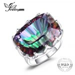 JewelryPalae 23ct Natural Rainbow Fire Mystic Topaz Cocktail Ring Genuine 925 Sterling <b>Silver</b> Women Fashion Luxury Brand <b>Jewelry</b>