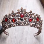 Vintage Crystal Beads Coffee Tiara Headband Baroque Crown Rhinestone Tiaras Crowns Queen Pageant Prom Wedding Hair <b>Jewelry</b>