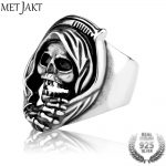 MetJakt 925 <b>Sterling</b> <b>Silver</b> Open Ring & Men's Punk Rock Grim Reaper Skull Ring Handmade <b>Jewelry</b> for Men and Boy