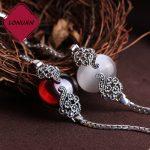 17.5cm high quality 925 Sterling <b>silver</b> Semi-precious stones Garnet Vintage White Opal Bracelet Women <b>jewelry</b> girls lovers gift