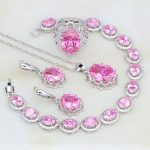 Crown Pink Birthstone Charms White CZ 925 Sterling <b>Silver</b> Jewelry Sets For Women Wedding Earring/Pendant/Necklace/<b>Bracelet</b>/Ring
