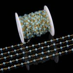 3x4mm Tiny Sky Blue Crystal Glass Faceted Rondelle Chains,Rosary Style Plated Golden Wire Wrapped Beaded Chains Finding <b>Supplies</b>