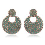 SHOWTRUE Fashion Earrings Verdigris Patina Single Earrings Elegant Round Stud Earring Ear Jewlery Indian <b>Native</b> <b>American</b> <b>Jewelry</b>