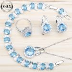 925 Silver Blue Zircon White Stones Costume <b>Jewelry</b> Sets Women Earrings Rings With Stones Pendant Necklace Bracelets Gift Box