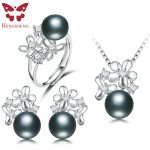 HENGSHENG Real Black Pearl Jewelry Set,Women Flower <b>Silver</b> Pendants&<b>Necklaces</b>&Stud Earrings&Ring,Fashion Jewelry Set,Bread Round