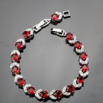 Round Length 18+2CM Red Garnet 925 Sterling Silver Bracelets For Women Excellent Sterling Silver <b>Jewelry</b> Free Gift Box